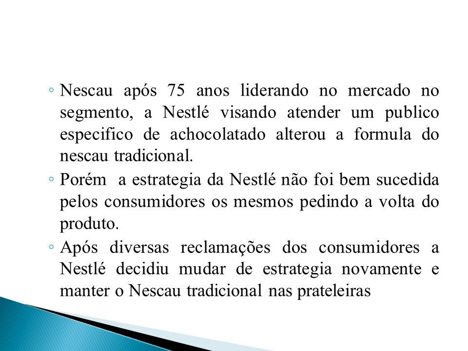 Nescau após 75 anos liderando no mercado no segmento, a Nestlé visando atender um publico especifico de achocolatado alterou a formula do nescau tradi