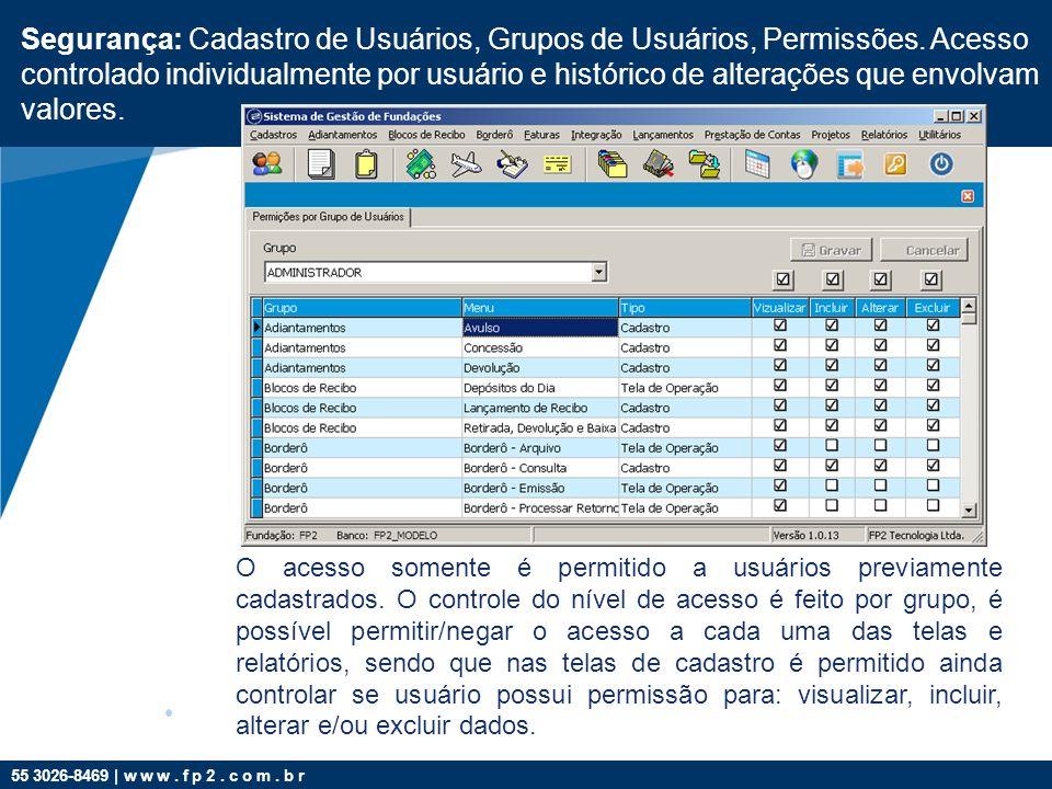 55 3026-8469 | w w w. f p 2. c o m. b r Segurança: Cadastro de Usuários, Grupos de Usuários, Permissões. Acesso controlado individualmente por usuário