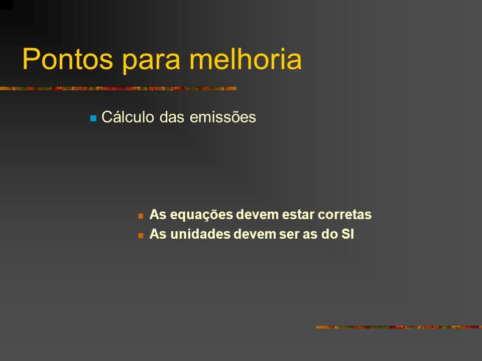 Pontos para melhoria Cálculo das emissões As equações devem estar corretas As unidades devem ser as do SI