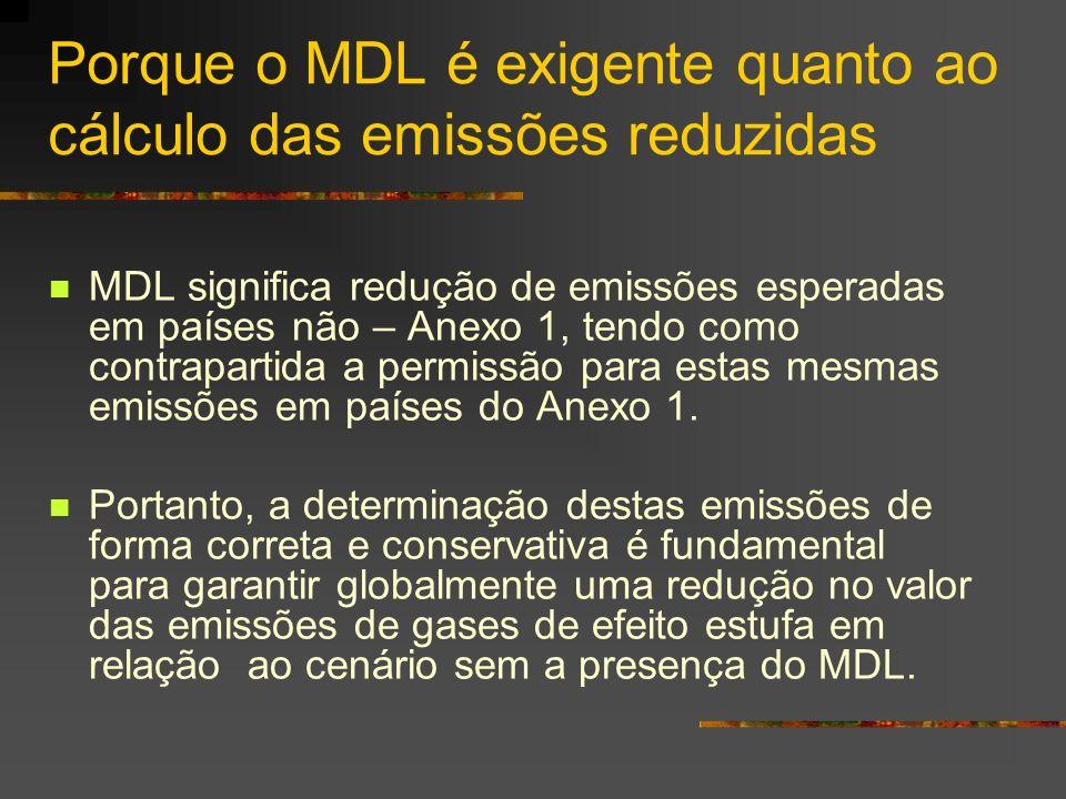 Porque o MDL é exigente quanto ao cálculo das emissões reduzidas MDL significa redução de emissões esperadas em países não – Anexo 1, tendo como contr