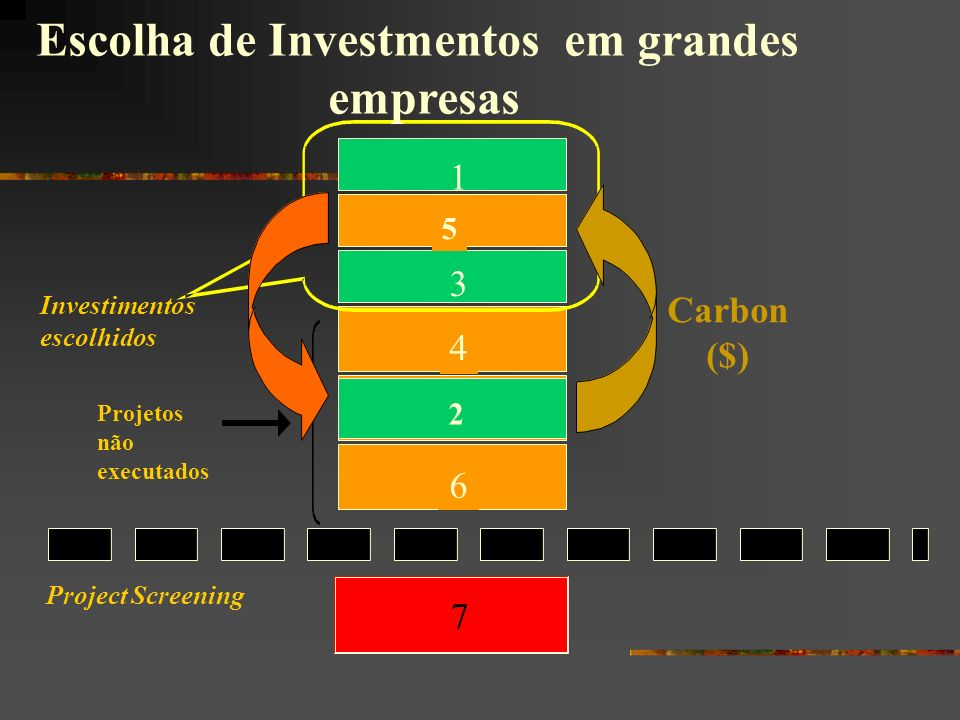 Project Screening 7 4 6 5 1 2 3 Projetos não executados Investimentos escolhidos Carbon ($) 5 2 Escolha de Investmentos em grandes empresas