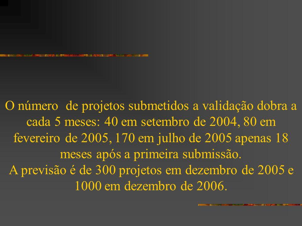 O número de projetos submetidos a validação dobra a cada 5 meses: 40 em setembro de 2004, 80 em fevereiro de 2005, 170 em julho de 2005 apenas 18 mese