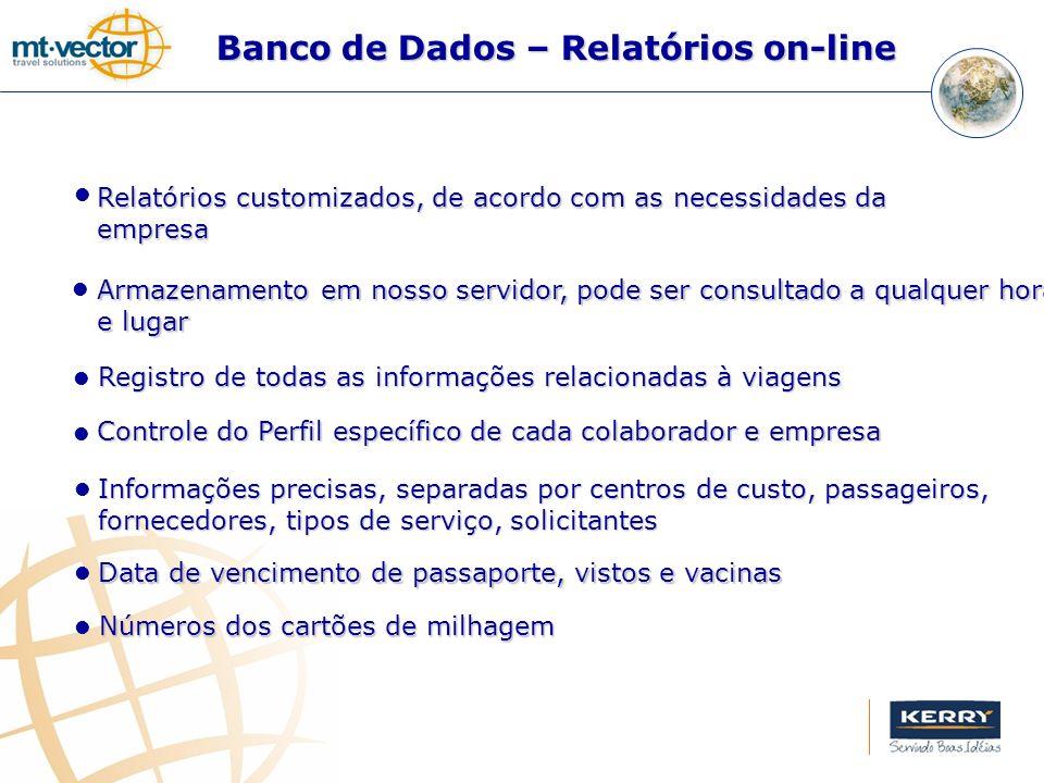Banco de Dados – Relatórios on-line Registro de todas as informações relacionadas à viagens Controle do Perfil específico de cada colaborador e empres