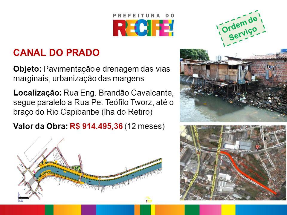 CANAL DO PRADO Objeto: Pavimentação e drenagem das vias marginais; urbanização das margens Localização: Rua Eng. Brandão Cavalcante, segue paralelo a