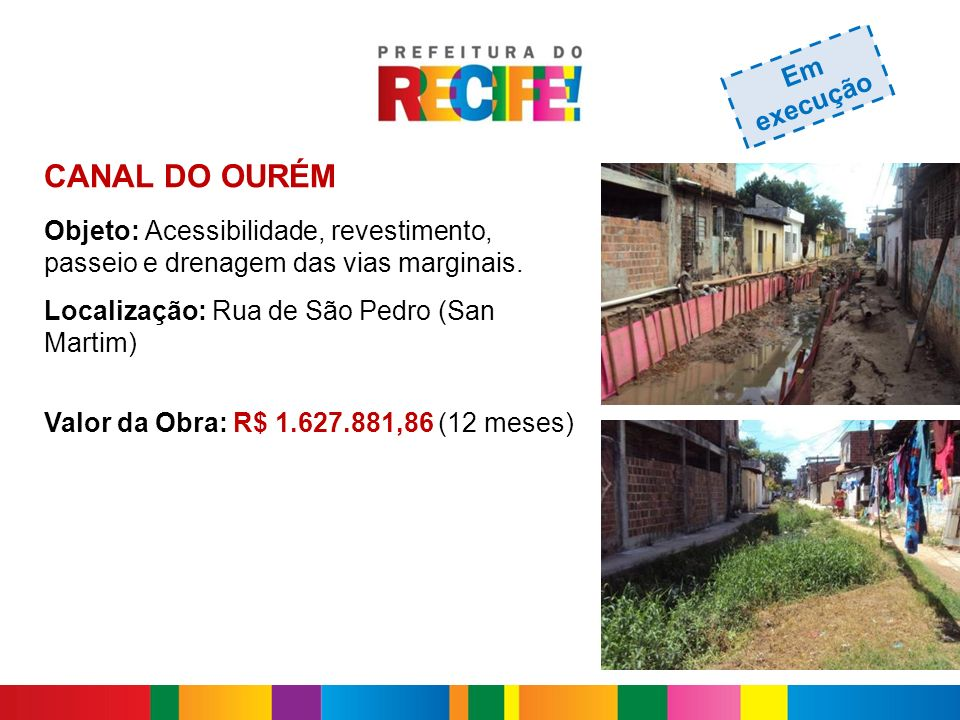 CANAL DO OURÉM Objeto: Acessibilidade, revestimento, passeio e drenagem das vias marginais. Localização: Rua de São Pedro (San Martim) Valor da Obra:
