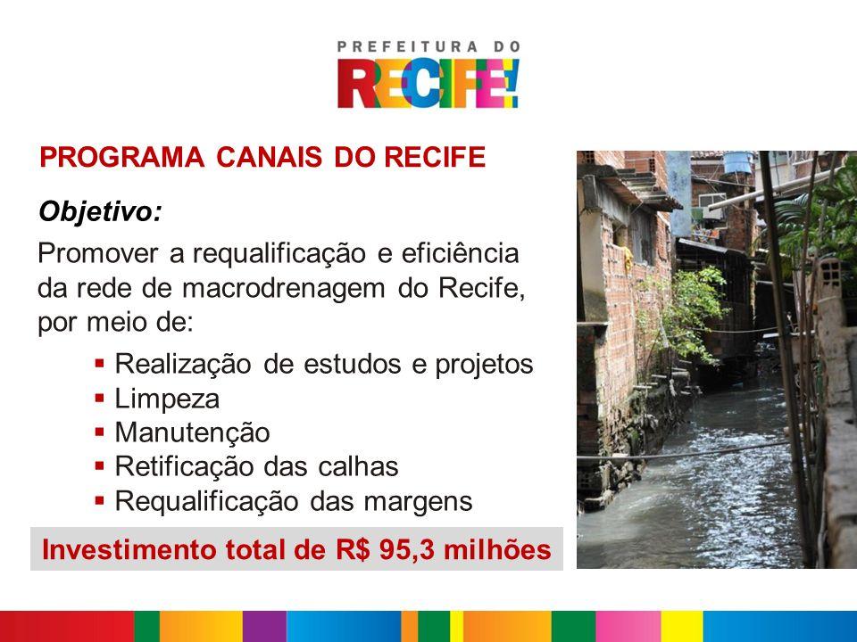 Objetivo: Promover a requalificação e eficiência da rede de macrodrenagem do Recife, por meio de: PROGRAMA CANAIS DO RECIFE Realização de estudos e pr