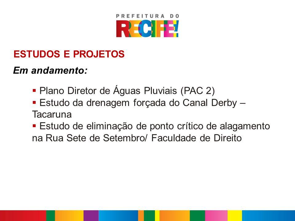INTERVENÇÕES COMPLEMENTARES Caxangá/ BR 101 Rua Conde d´Eu Rua Samuel Campelo com Rua 48 Eliminação de pontos críticos de alagamento, em andamento: