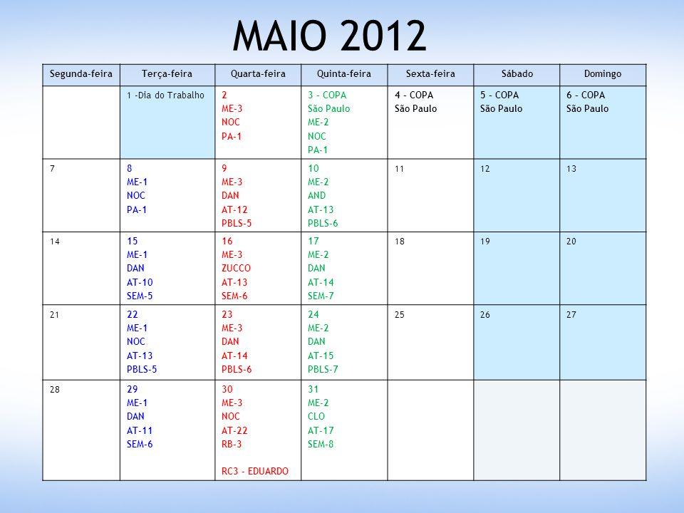 JUNHO 2012 Segunda-feiraTerça-feiraQuarta-feiraQuinta-feiraSexta-feiraSábadoDomingo 123 45 ME-1 THI AT-12 PBLS-6 6 ME-3 DAN AT-15 SEM-7 7 - Corpus Christi8 - ESA9 - ESA10 - ESA 11 - ESA12 – ESA ME-1 EDU AT-14 SEM-7 13 – ESA ME-3 PS AT-16 PBLS-7 14 – JASB Vitória ME-2 EDU AT-18 PBLS-8 15 – JASB Vitória 16 – JASB Vitória 17 18 19 - Aniversário Ribeirão 20 ME-3 AND AT-17 SEM-8 21 ME-2 ZUCCO AT-19 SEM-9 222324 2526 ME-1 AND AT-15 PBLS-7 27 ME-3 AND AT-18 PBLS-8 RC4 - ANDRÉ 28 ME-2 NOC AT-20 PBLS-9 293031