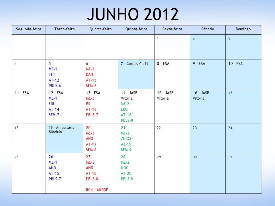 JULHO 2012 Segunda-feiraTerça-feiraQuarta-feiraQuinta-feiraSexta-feiraSábadoDomingo 1 23 ME-1 NOC AT-18 RB-2 4 ME-3 AND AT-19 SEM-9 5 ME-2 EDU AT-21 SEM-10 678 9 - Consciência Negra 10 ME-1 NOC AT-21 SEM-8 11 ME-3 EDU AT-20 PBLS-9 12 ME-2 ZUCCO AT-23 PBLS-10 131415 16171819202122 23242526272829 3031 ME-1 NOC PA-2