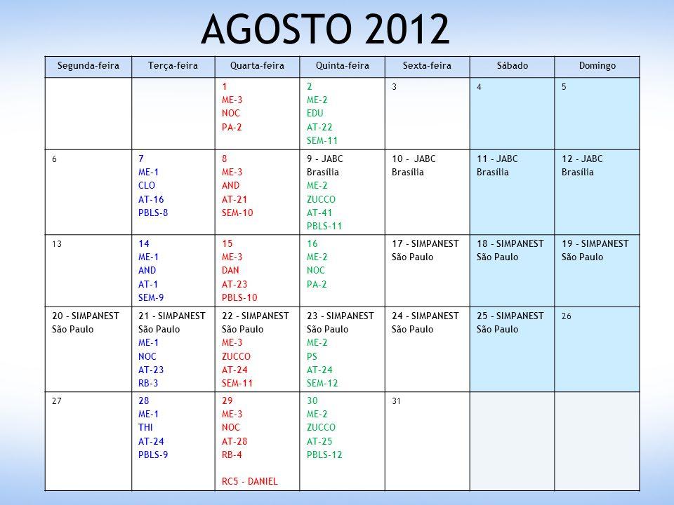 AGOSTO 2012 Segunda-feiraTerça-feiraQuarta-feiraQuinta-feiraSexta-feiraSábadoDomingo 1 ME-3 NOC PA-2 2 ME-2 EDU AT-22 SEM-11 345 67 ME-1 CLO AT-16 PBLS-8 8 ME-3 AND AT-21 SEM-10 9 – JABC Brasília ME-2 ZUCCO AT-41 PBLS-11 10 - JABC Brasília 11 - JABC Brasília 12 - JABC Brasília 1314 ME-1 AND AT-1 SEM-9 15 ME-3 DAN AT-23 PBLS-10 16 ME-2 NOC PA-2 17 – SIMPANEST São Paulo 18 – SIMPANEST São Paulo 19 – SIMPANEST São Paulo 20 – SIMPANEST São Paulo 21 – SIMPANEST São Paulo ME-1 NOC AT-23 RB-3 22 – SIMPANEST São Paulo ME-3 ZUCCO AT-24 SEM-11 23 – SIMPANEST São Paulo ME-2 PS AT-24 SEM-12 24 – SIMPANEST São Paulo 25 – SIMPANEST São Paulo 26 2728 ME-1 THI AT-24 PBLS-9 29 ME-3 NOC AT-28 RB-4 RC5 - DANIEL 30 ME-2 ZUCCO AT-25 PBLS-12 31