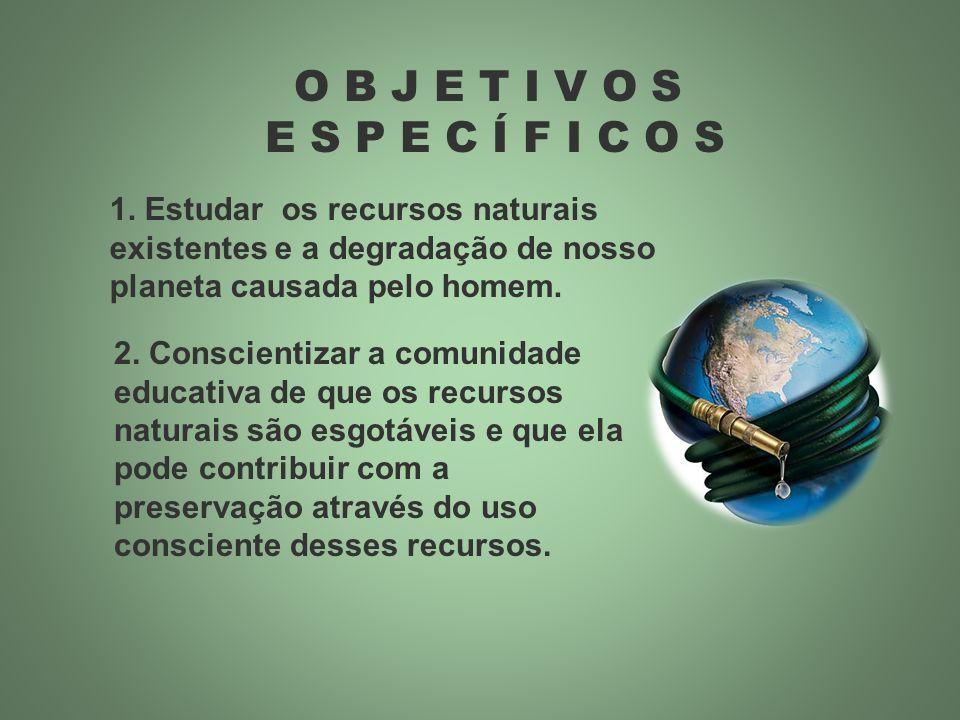 O B J E T I V O S E S P E C Í F I C O S 1. Estudar os recursos naturais existentes e a degradação de nosso planeta causada pelo homem. 2. Conscientiza