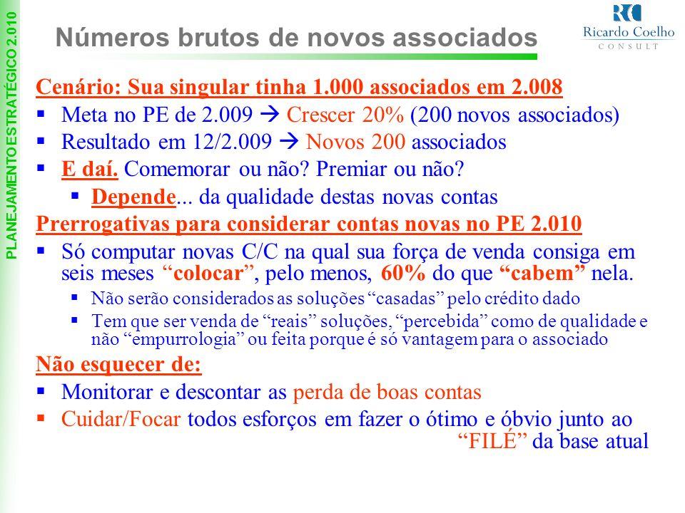PLANEJAMENTO ESTRATÉGICO 2.010 Cenário: Sua singular tinha 1.000 associados em 2.008 Meta no PE de 2.009 Crescer 20% (200 novos associados) Resultado em 12/2.009 Novos 200 associados E daí.