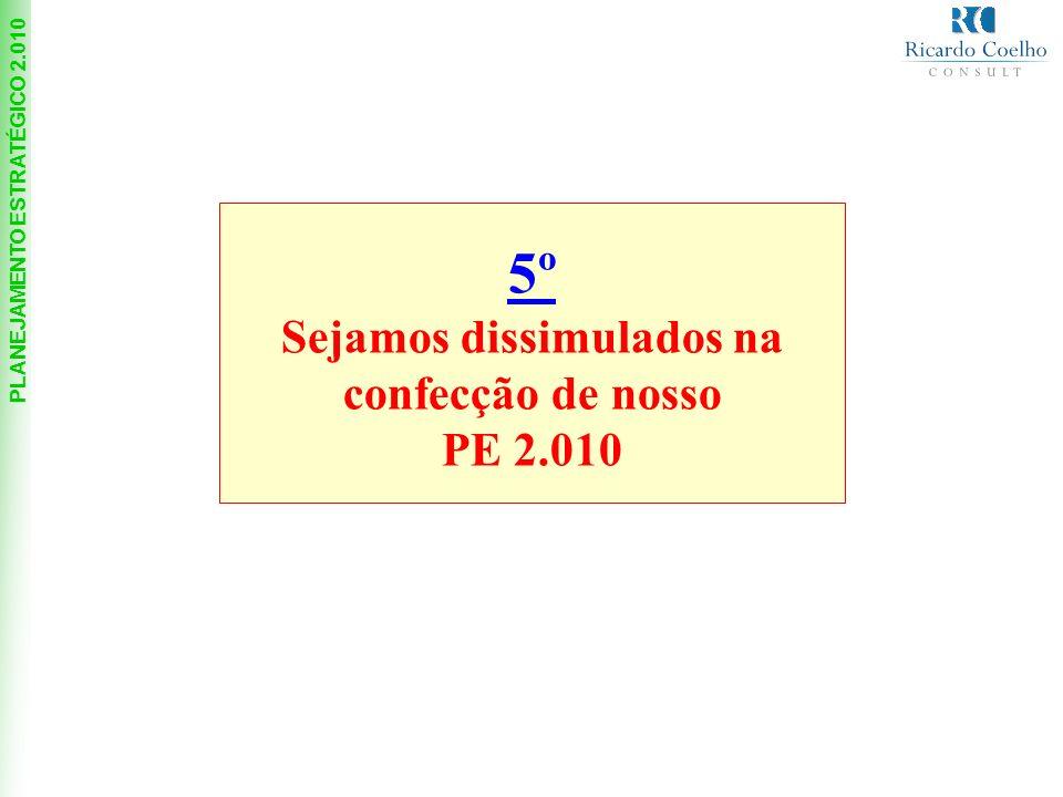 PLANEJAMENTO ESTRATÉGICO 2.010 5º Sejamos dissimulados na confecção de nosso PE 2.010