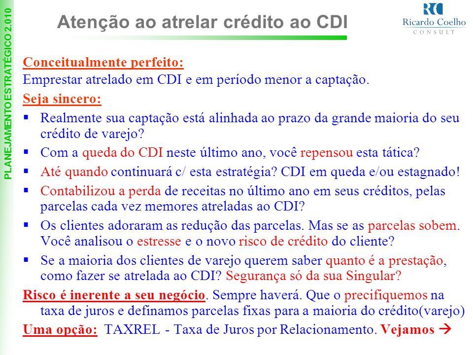 PLANEJAMENTO ESTRATÉGICO 2.010 Conceitualmente perfeito: Emprestar atrelado em CDI e em período menor a captação.