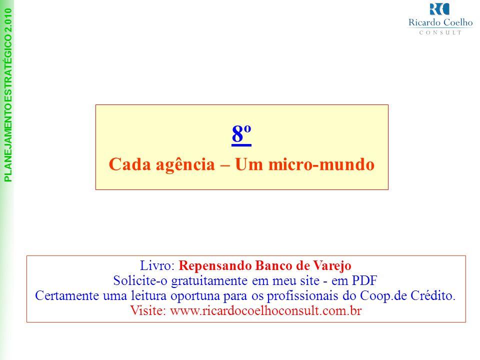 PLANEJAMENTO ESTRATÉGICO 2.010 8º Cada agência – Um micro-mundo Livro: Repensando Banco de Varejo Solicite-o gratuitamente em meu site - em PDF Certamente uma leitura oportuna para os profissionais do Coop.de Crédito.