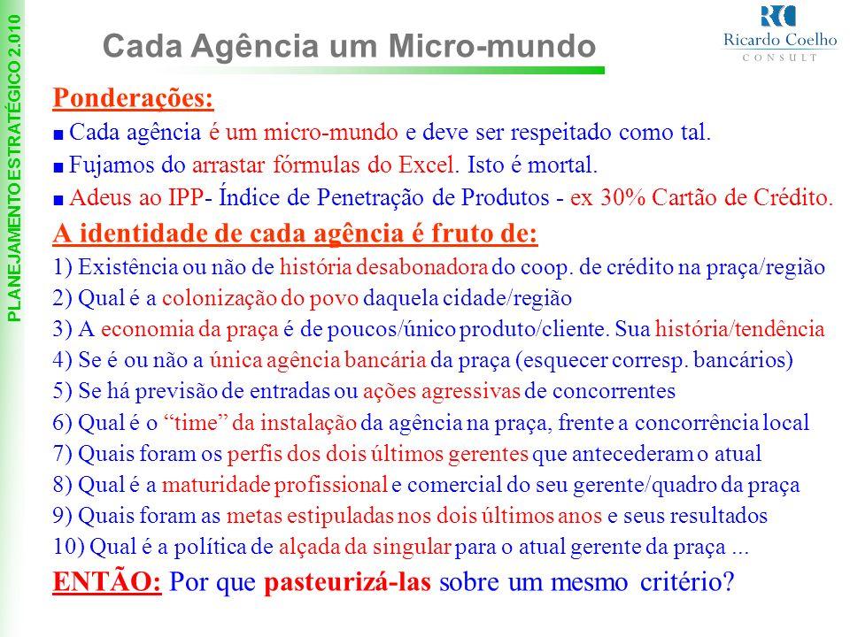 PLANEJAMENTO ESTRATÉGICO 2.010 Ponderações: Cada agência é um micro-mundo e deve ser respeitado como tal.