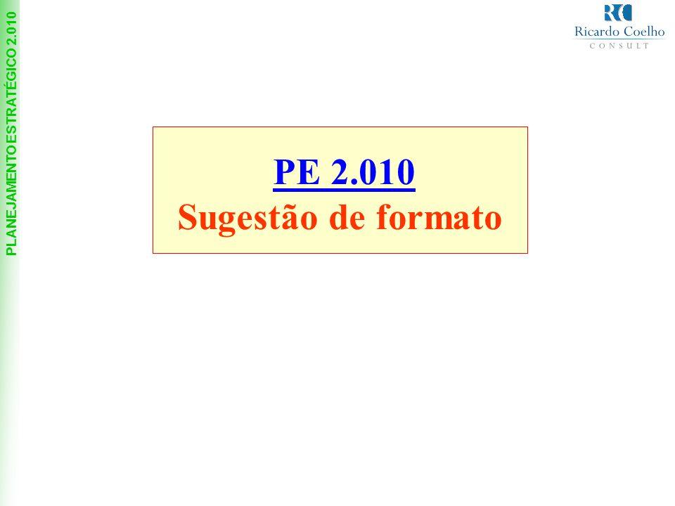 PLANEJAMENTO ESTRATÉGICO 2.010 PE 2.010 Sugestão de formato