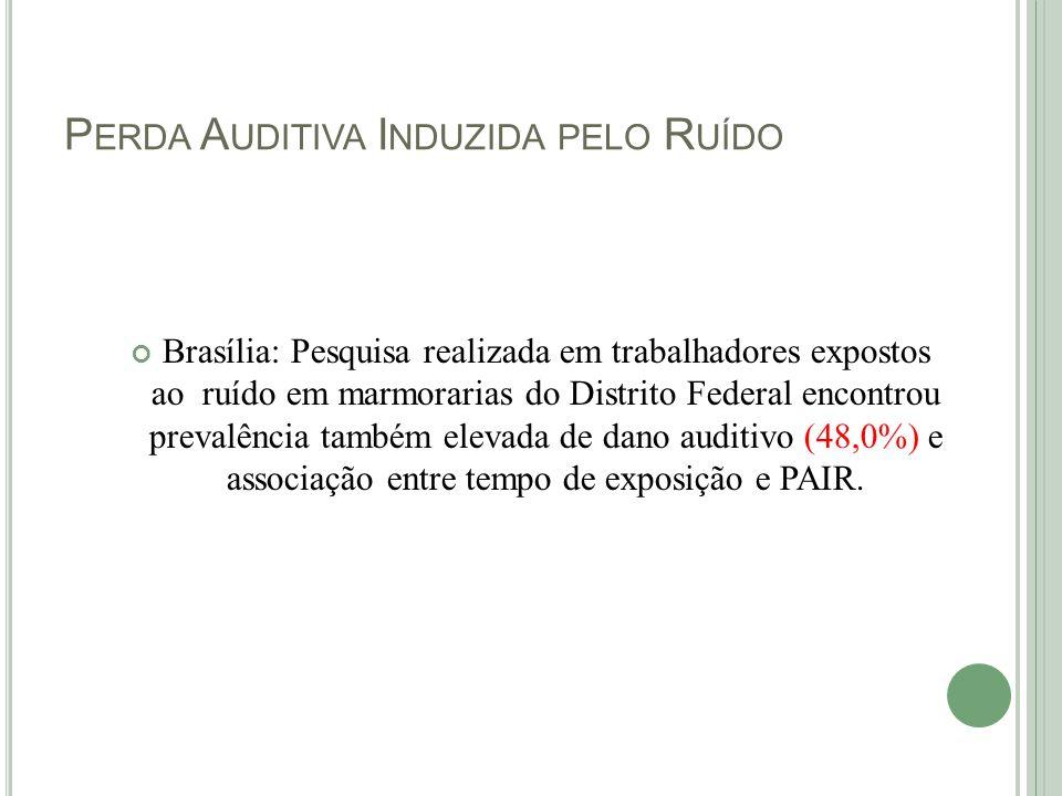 P ERDA A UDITIVA I NDUZIDA PELO R UÍDO Brasília: Pesquisa realizada em trabalhadores expostos ao ruído em marmorarias do Distrito Federal encontrou pr