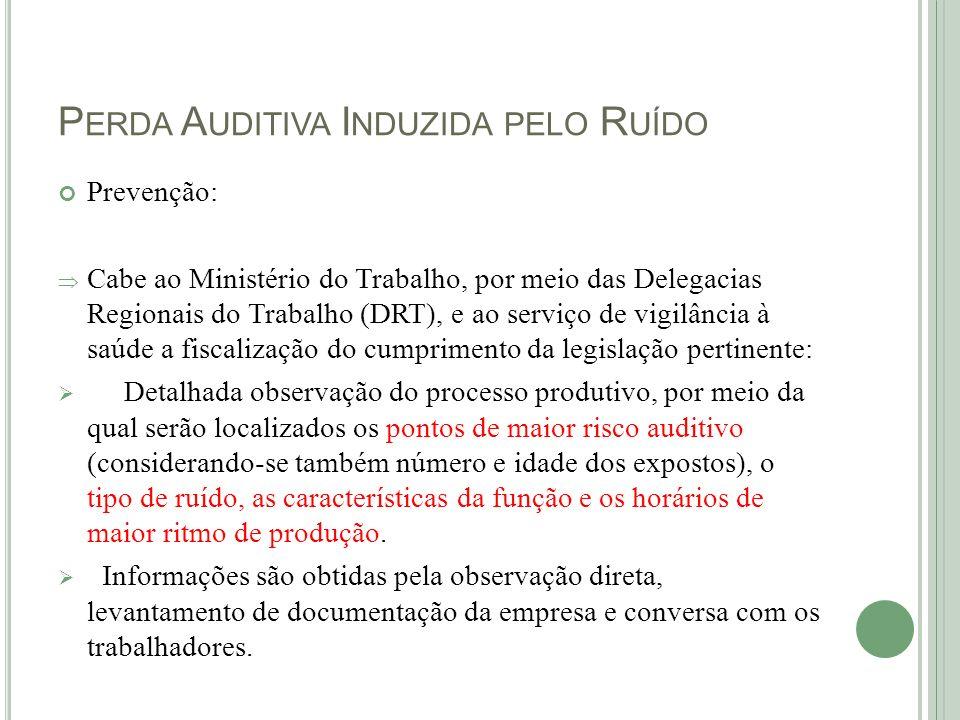 P ERDA A UDITIVA I NDUZIDA PELO R UÍDO Prevenção: Cabe ao Ministério do Trabalho, por meio das Delegacias Regionais do Trabalho (DRT), e ao serviço de