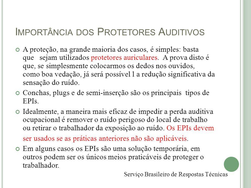 I MPORTÂNCIA DOS P ROTETORES A UDITIVOS A proteção, na grande maioria dos casos, é simples: basta que sejam utilizados protetores auriculares. A prova