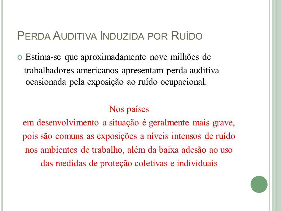 P ERDA A UDITIVA I NDUZIDA PELO R UÍDO Os dados epidemiológicos sobre perda auditiva no Brasil são escassos e referem-se a determinados ramos de atividades e, portanto, não há registros epidemiológicos que caracterizem a real situação.