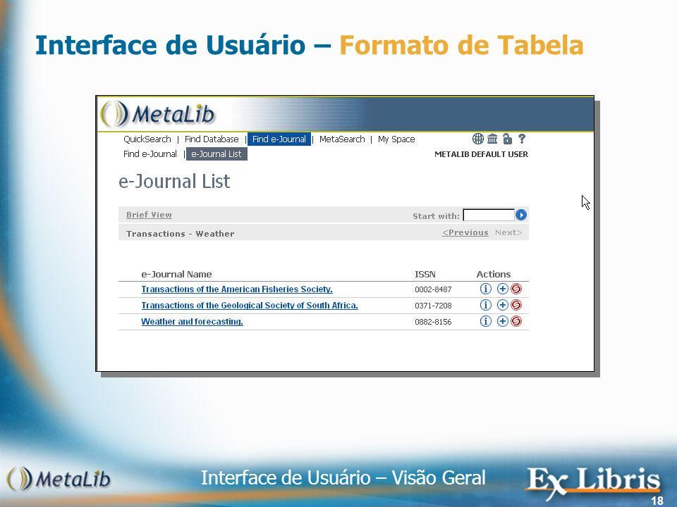 Interface de Usuário – Visão Geral 18 Interface de Usuário – Formato de Tabela