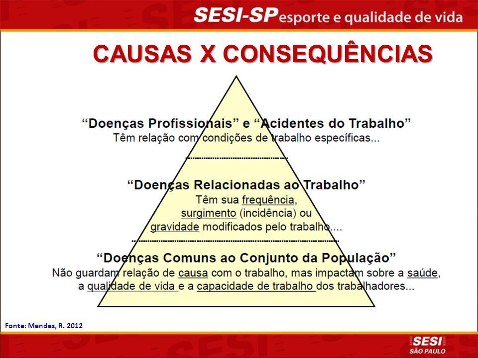 CAUSAS X CONSEQUÊNCIAS Fonte: Mendes, R. 2012