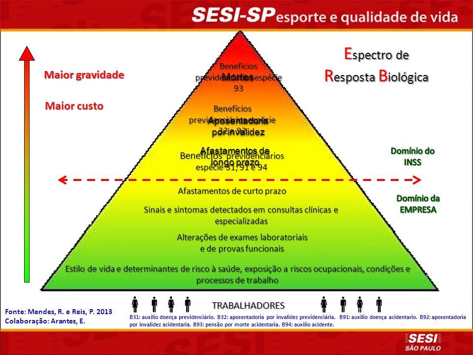 Fonte: Mendes, R. e Reis, P. 2013 Colaboração: Arantes, E. B31: auxílio doença previdenciário. B32: aposentadoria por invalidez previdenciária. B91: a
