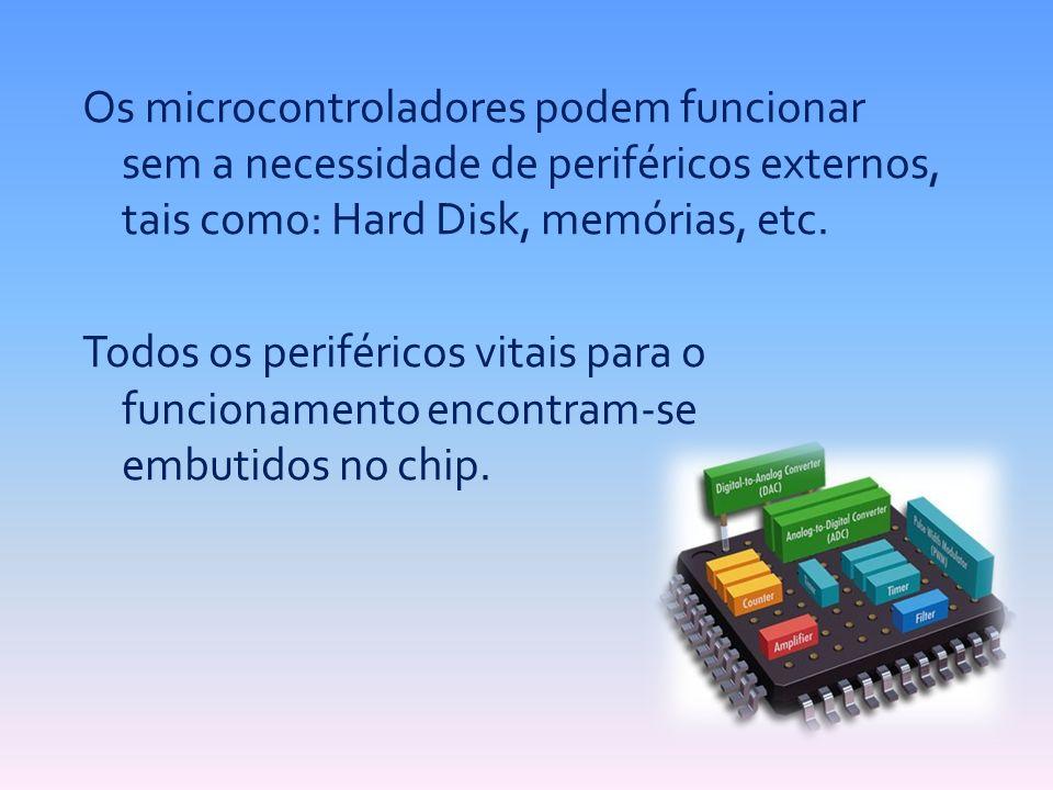 Os microcontroladores podem funcionar sem a necessidade de periféricos externos, tais como: Hard Disk, memórias, etc. Todos os periféricos vitais para