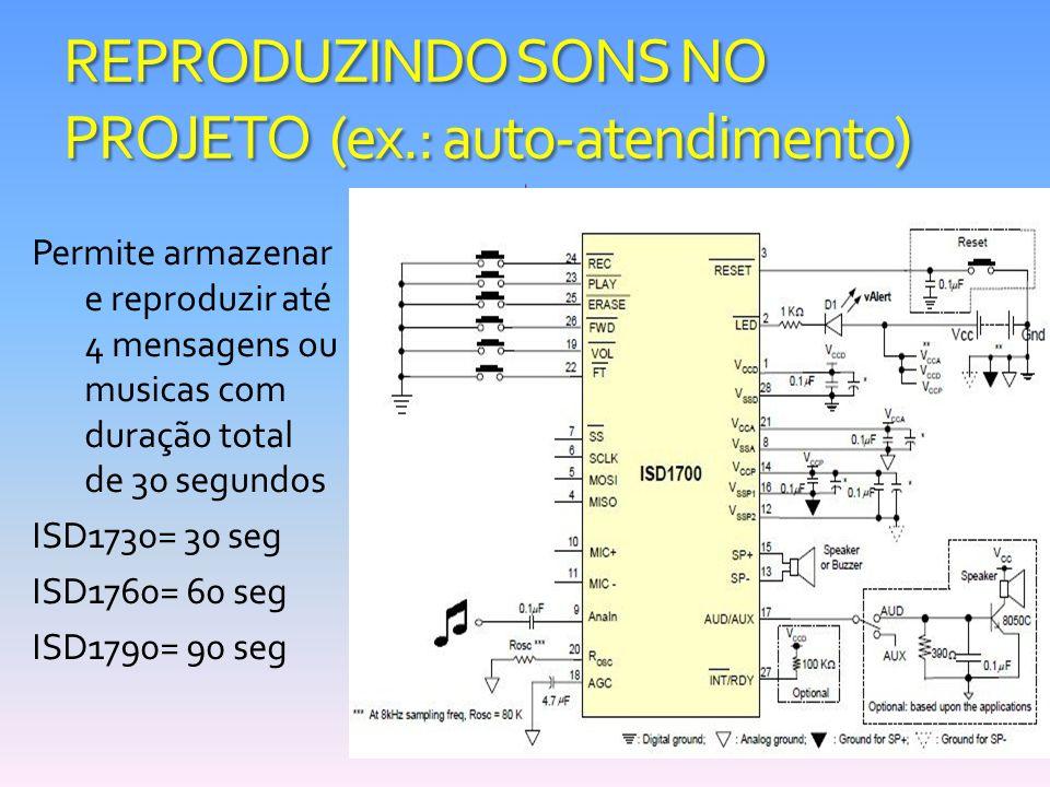REPRODUZINDO SONS NO PROJETO (ex.: auto-atendimento) Permite armazenar e reproduzir até 4 mensagens ou musicas com duração total de 30 segundos ISD173