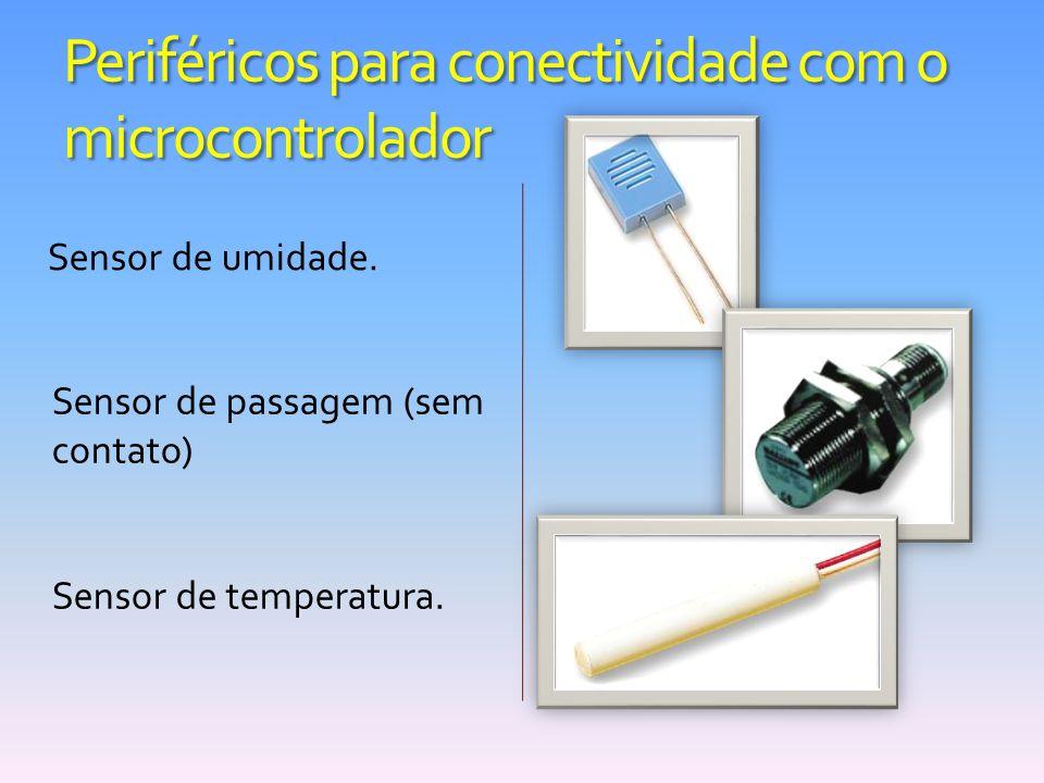 Periféricos para conectividade com o microcontrolador Sensor de umidade. Sensor de passagem (sem contato) Sensor de temperatura.