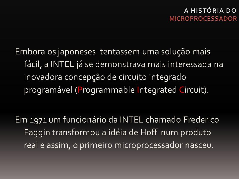 Embora os japoneses tentassem uma solução mais fácil, a INTEL já se demonstrava mais interessada na inovadora concepção de circuito integrado programá