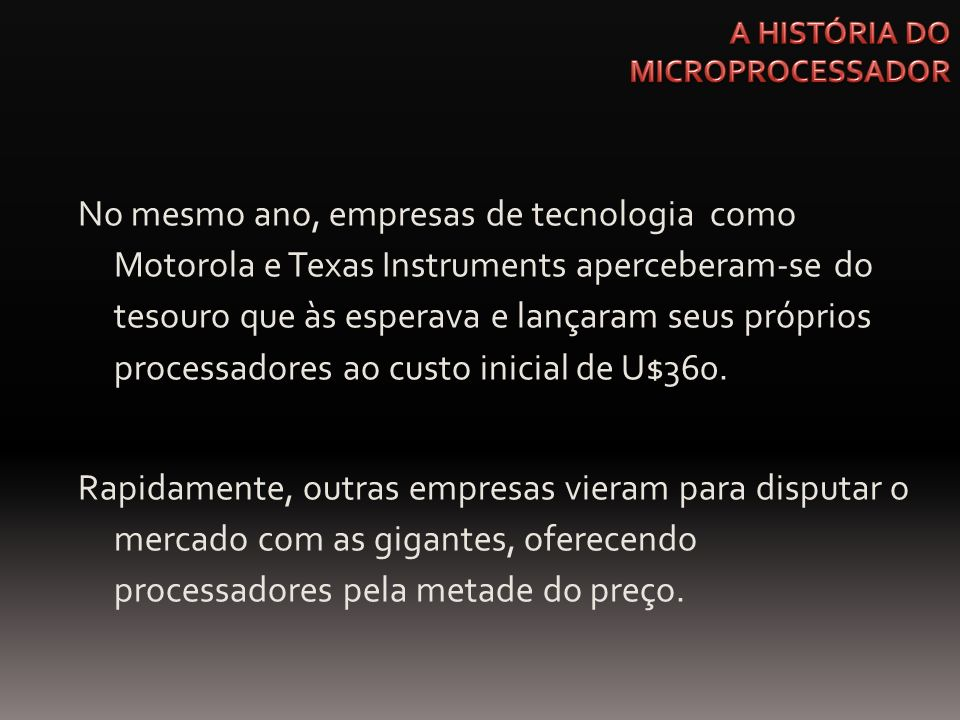 No mesmo ano, empresas de tecnologia como Motorola e Texas Instruments aperceberam-se do tesouro que às esperava e lançaram seus próprios processadore