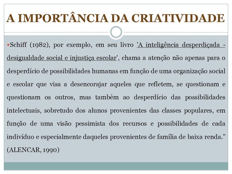 Schiff (1982), por exemplo, em seu livro 'A inteligência desperdiçada - desigualdade social e injustiça escolar', chama a atenção não apenas para o de