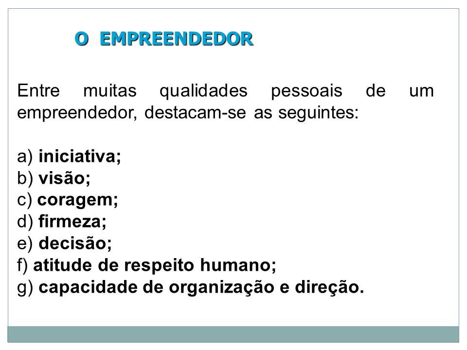 O EMPREENDEDOR O EMPREENDEDOR Entre muitas qualidades pessoais de um empreendedor, destacam-se as seguintes: a) iniciativa; b) visão; c) coragem; d) f