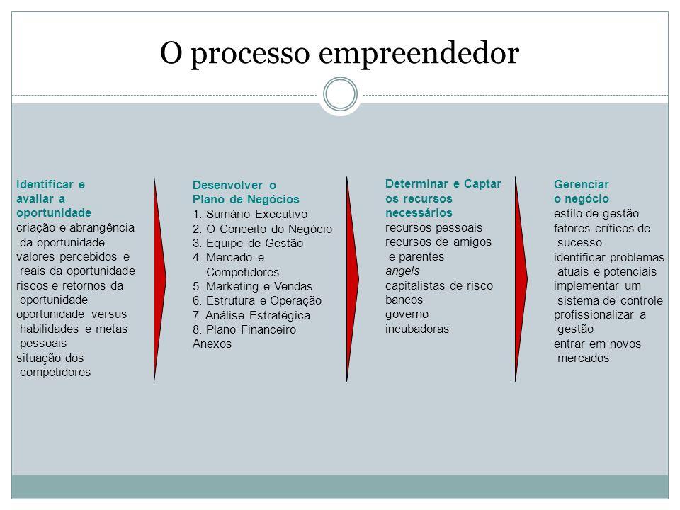 O processo empreendedor Gerenciar o negócio estilo de gestão fatores críticos de sucesso identificar problemas atuais e potenciais implementar um sist