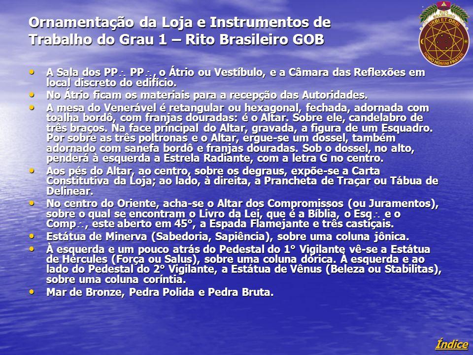 Índice Ornamentação da Loja e Instrumentos de Trabalho do Grau 1 – Rito Brasileiro GOB A Sala dos PP PP, o Átrio ou Vestíbulo, e a Câmara das Reflexões em local discreto do edifício.