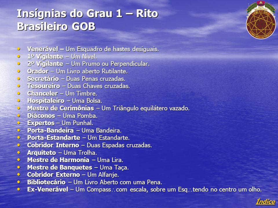 Índice Insígnias do Grau 1 – Rito Brasileiro GOB Venerável – Um Esquadro de hastes desiguais.