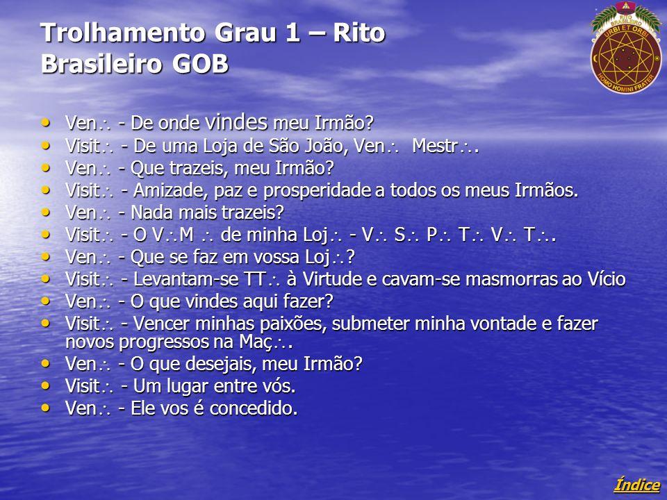 Índice Trolhamento Grau 1 – Rito Brasileiro GOB Ven - De onde vindes meu Irmão.