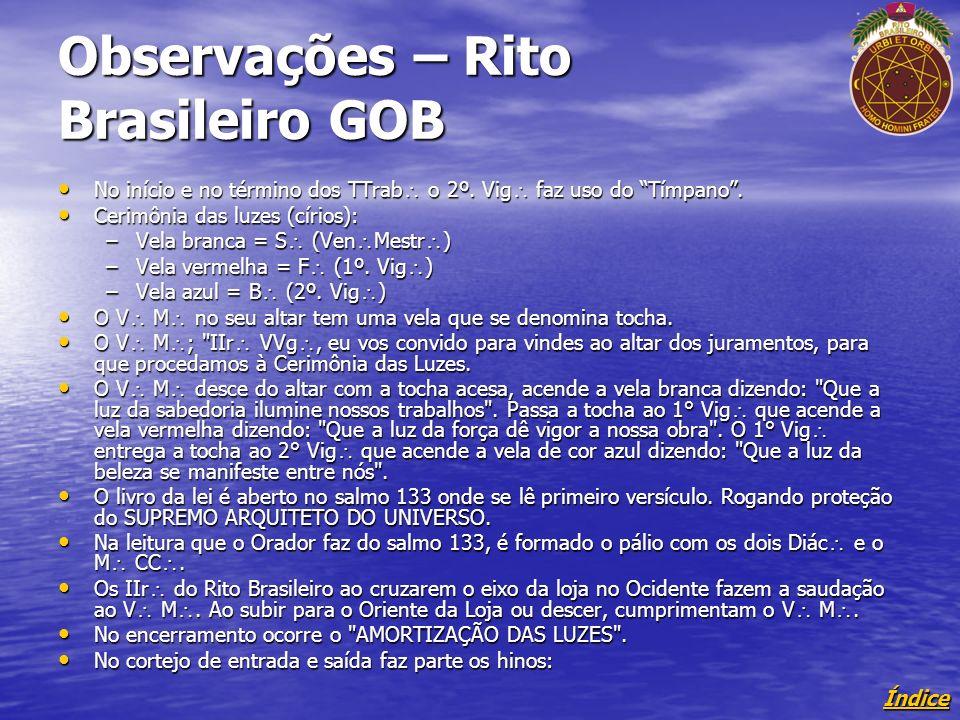 Índice Observações – Rito Brasileiro GOB No início e no término dos TTrab o 2º.