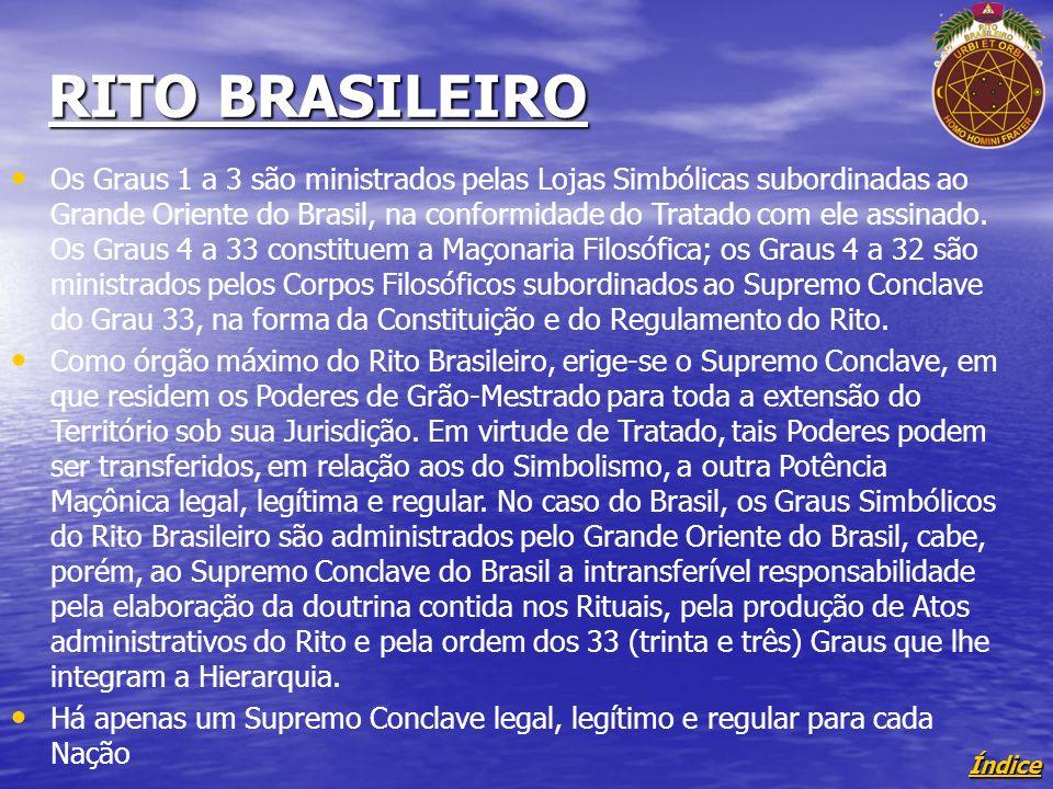 Índice RITO BRASILEIRO Os Graus 1 a 3 são ministrados pelas Lojas Simbólicas subordinadas ao Grande Oriente do Brasil, na conformidade do Tratado com ele assinado.