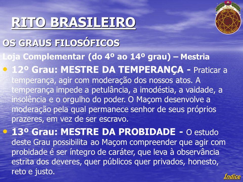 Índice RITO BRASILEIRO OS GRAUS FILOSÓFICOS Loja Complementar (do 4º ao 14º grau) – Mestria 12º Grau: MESTRE DA TEMPERANÇA - Praticar a temperança, agir com moderação dos nossos atos.