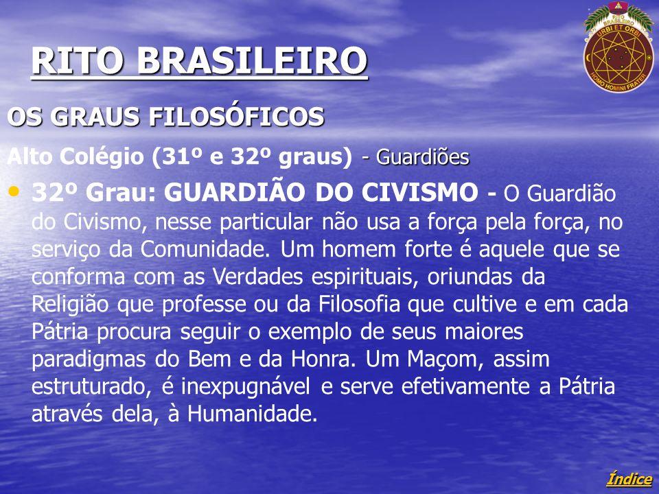 Índice RITO BRASILEIRO OS GRAUS FILOSÓFICOS - Guardiões Alto Colégio (31º e 32º graus) - Guardiões 32º Grau: GUARDIÃO DO CIVISMO - O Guardião do Civismo, nesse particular não usa a força pela força, no serviço da Comunidade.