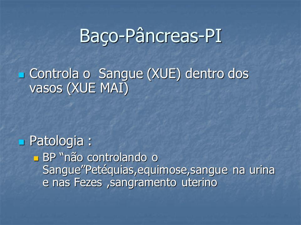 Baço-Pâncreas-PI Controla o Sangue (XUE) dentro dos vasos (XUE MAI) Controla o Sangue (XUE) dentro dos vasos (XUE MAI) Patologia : Patologia : BP não