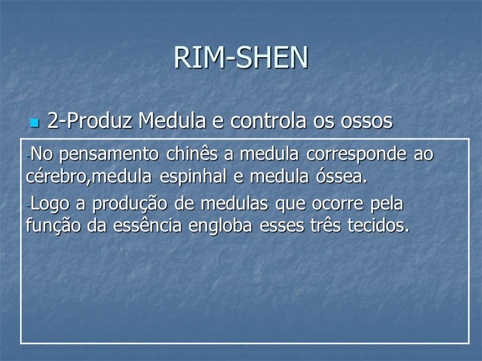 RIM-SHEN 2-Produz Medula e controla os ossos 2-Produz Medula e controla os ossos - No pensamento chinês a medula corresponde ao cérebro,medula espinha