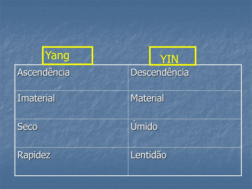 AscendênciaDescendência ImaterialMaterial SecoÚmido RapidezLentidão Yang YIN