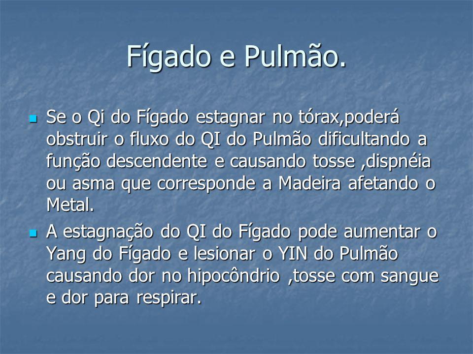 Fígado e Pulmão. Se o Qi do Fígado estagnar no tórax,poderá obstruir o fluxo do QI do Pulmão dificultando a função descendente e causando tosse,dispné