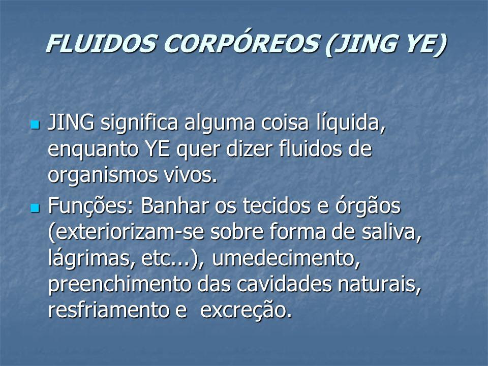 FLUIDOS CORPÓREOS (JING YE) JING significa alguma coisa líquida, enquanto YE quer dizer fluidos de organismos vivos. JING significa alguma coisa líqui