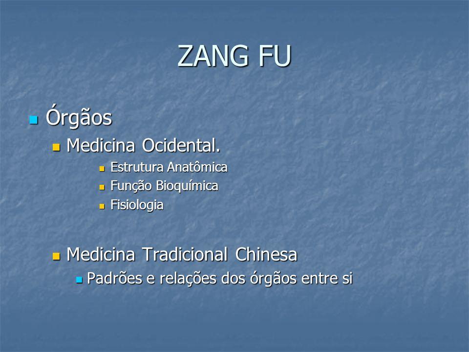 ZANG FU Órgãos Órgãos Medicina Ocidental. Medicina Ocidental. Estrutura Anatômica Estrutura Anatômica Função Bioquímica Função Bioquímica Fisiologia F