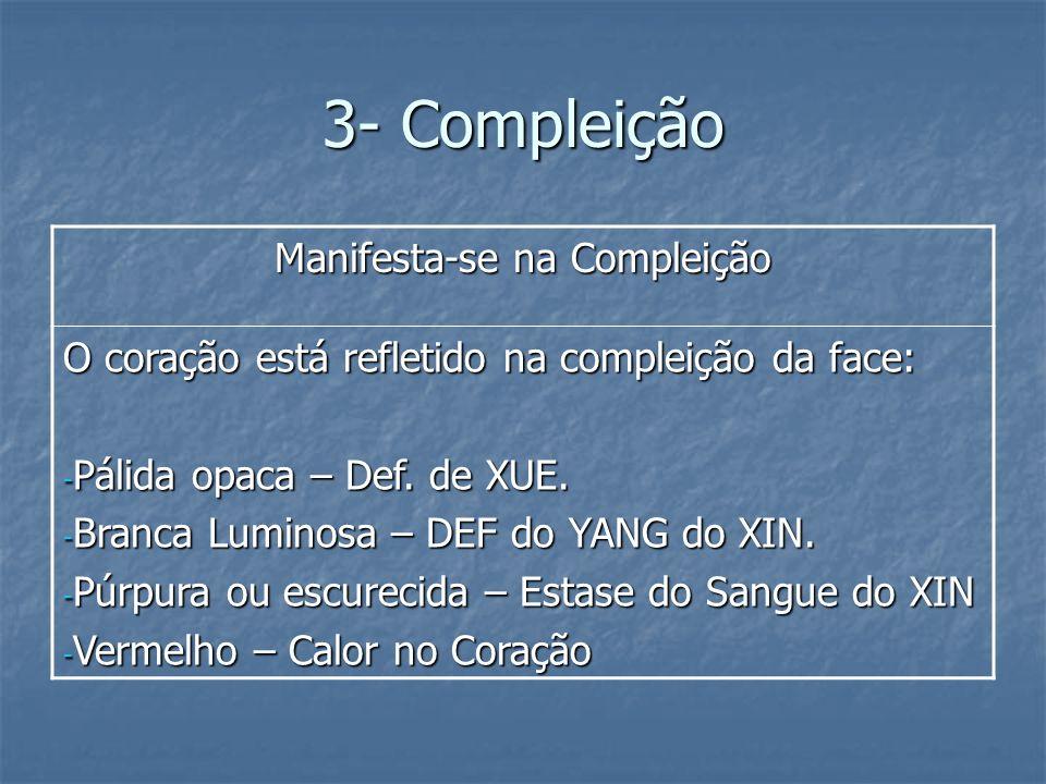 3- Compleição Manifesta-se na Compleição O coração está refletido na compleição da face: - Pálida opaca – Def. de XUE. - Branca Luminosa – DEF do YANG